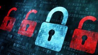Motivbild Datenschutz. Digitale Schlösser auf Datenstromhintergrund