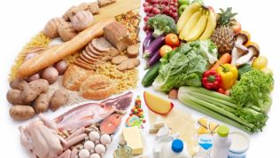 Lebensmittel aller Art in einem Kuchendiagramm angeordnet
