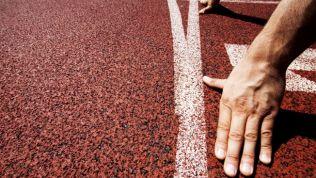 Sprinter geht auf Tartanbahn in Stellung