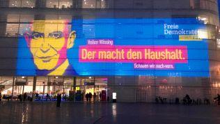 Projektion in Koblenz anlässlich des Wahlkampfauftakts der FDP Rheinland-Pfalz