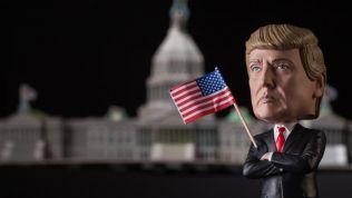 Trump Bobblehead vor dem Weißen Haus