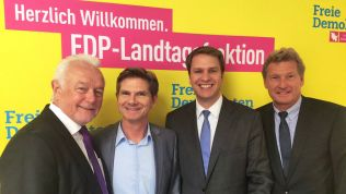 Wolfgang Kubicki mit Heiner Garg, Christopher Vogt und Bernd Buchholz