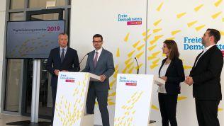 Präsentation des Digitalisierungsmonitors 2019: Peter Matuschek, Marco Buschmann, Katja Suding und Frank Sitta (v.l.n.r.)