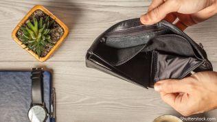 Leeres Portemonnaie, kein Geld