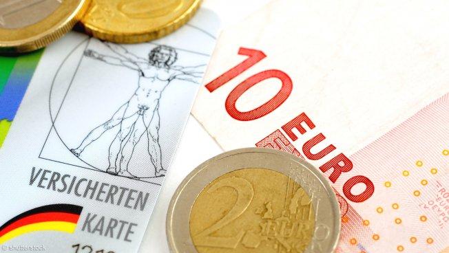 Chipkarte mit Euromünzen