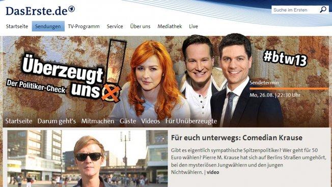"""Homepage von """"Überzeugt uns!"""" (Screenshot)"""