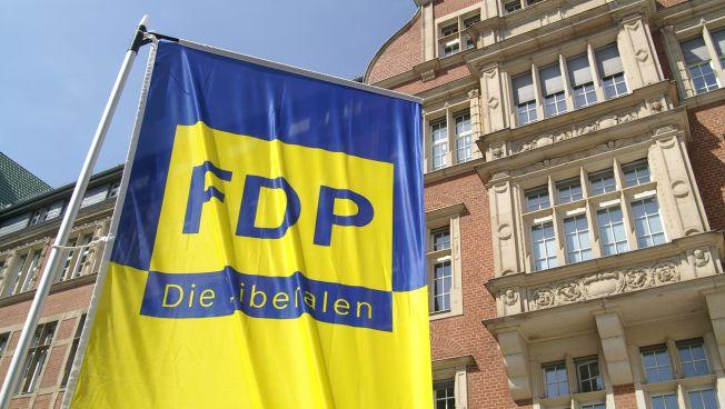 FDP-Flaggen vor dem Thomas-Dehler-Haus