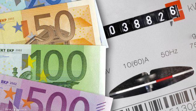 Stromzähler und Euroscheine