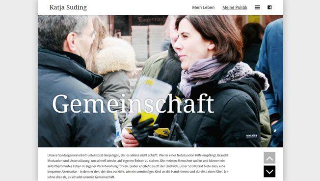 Screenshot der neuen Homepage von Katja Suding