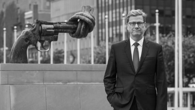 Guido Westerwelle vor dem Hauptquatier der Vereinten Nationen in New York