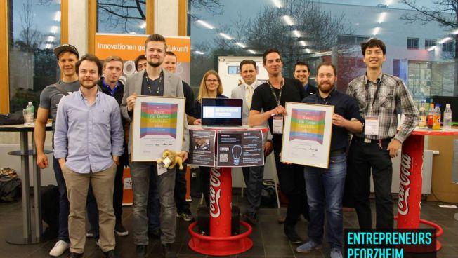 Mitglieder des Entrepreneurs Pforzheim e.V. beim landesweiten Gründerwettbewerb Elevator Pitch BW / Quelle: Entrepreneurs Pforzheim e.V