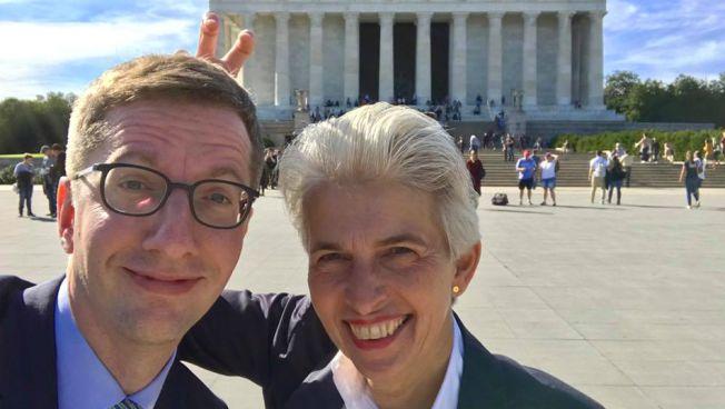 FDP-Wahlkampfkoordinator Jürgen Stindt und FDP-Vize Marie-Agnes Strack-Zimmermann in Washington. Bild: Jürgen Stindt