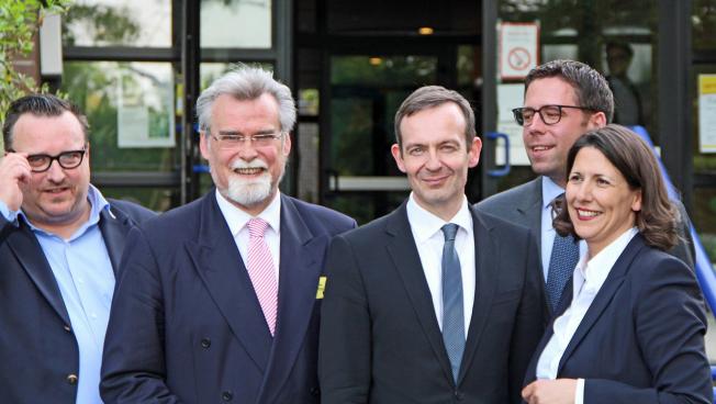 Andy Becht, Herbert Mertin, Volker Wissing, Philipp Fernis und Daniela Schmitt