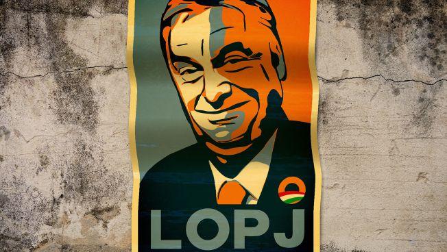 Plakat gegen Viktor Orban