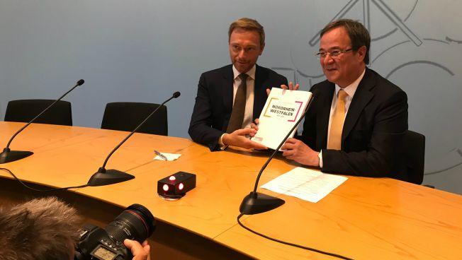 Christian Lindner und Armin Laschet vor der Landespressekonferenz
