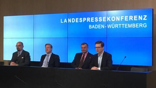 Hans-Ulrich Rülke und Nico Weinmann vor der Landespressekonferenz