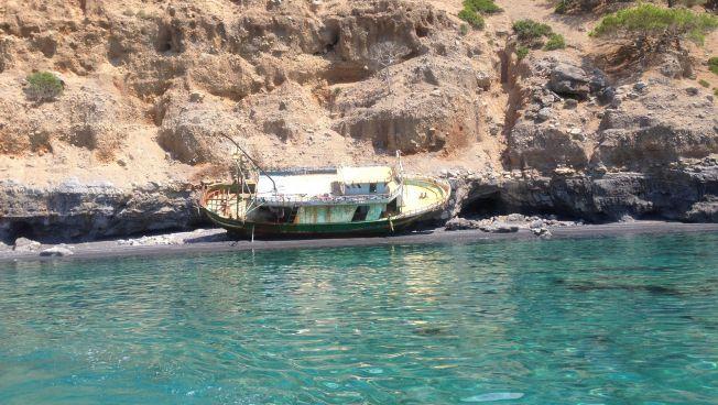 Wrack eines Flüchtlingsbootes