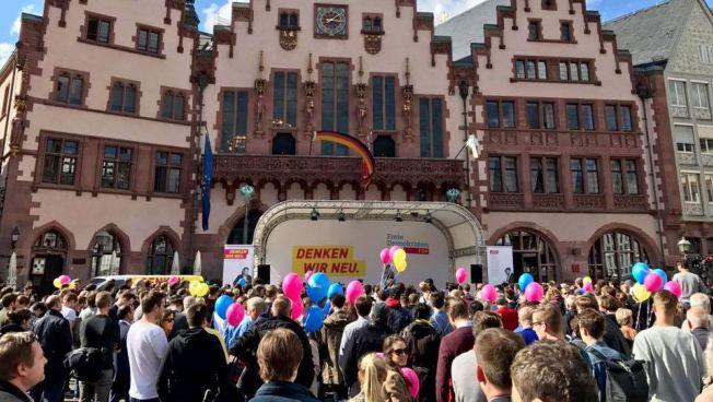 Wahlkampfveranstaltung am Frankfurter Römer