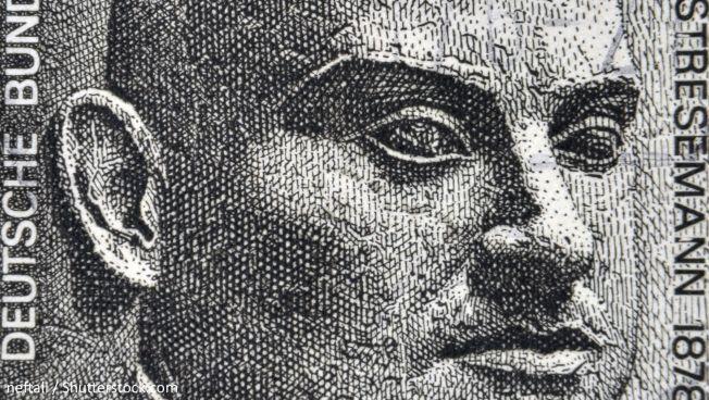 Porträt von Gustav Stresemann auf einer Briefmarke. Bild: neftali / Shutterstock.com