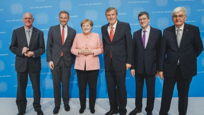 Norbert Lammert, Christian Lindner, Angela Merkel, Wolfgang Gerhardt, Karl-Heinz Paqué und Jürgen Morlok. Bild: FNF