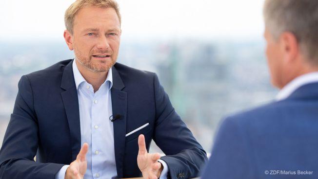 Christian Lindner beim Sommerinterview. Bild: ZDF/Marius Becker