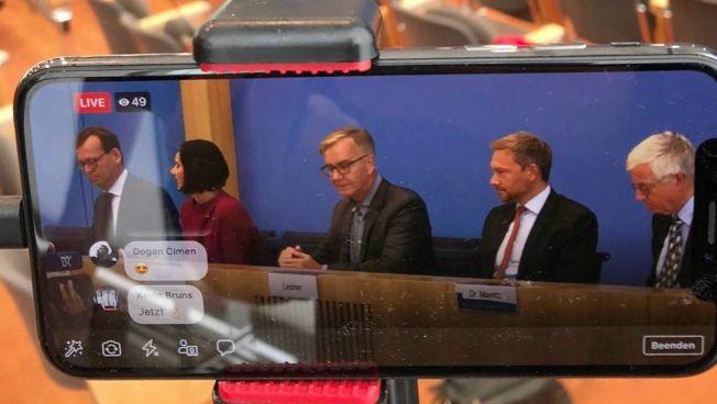 Katrin Göring-Eckhardt, Dietmar Bartsch und Christian Lindner vor der Presse
