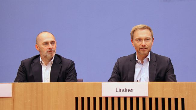 René Rock und Christian Lindner vor der Bundespressekonferenz