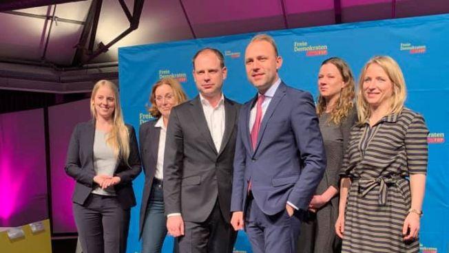 Der engere Vorstand der FDP: Daniela Kluckert MdB, Juliane Hüttl, Mathia Specht-Habbel, Laura Pfannemüller, Christoph Meyer MdB und Sebastian Czaja MdA.