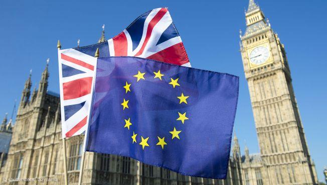 EU-GB-Flagge vor Big Ben
