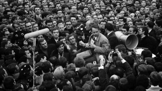 Ralf Dahrendorf und Rudi Dutschke beim Bundesparteitag 1968