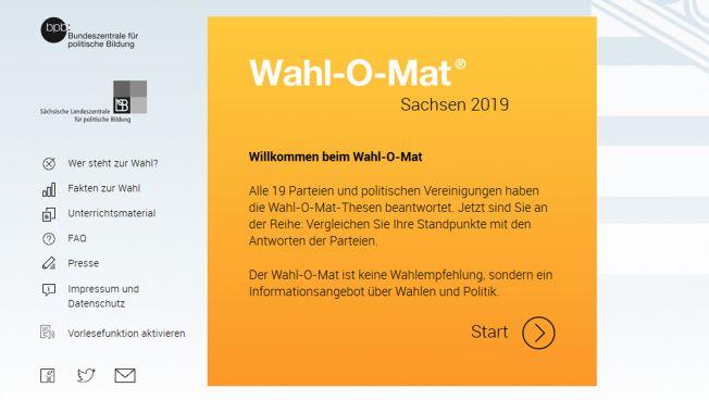 Screenshot, Wahl-O-Mat, Sachsen