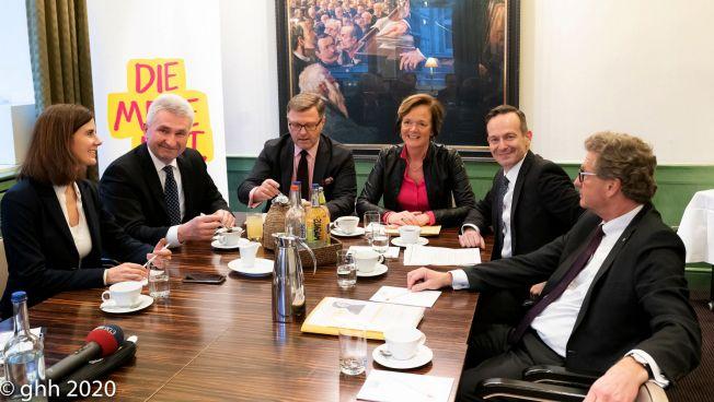 Katja Suding, Andreas Pinkwart, Bernd Buchholz, Anna von Treuenfels und Volker Wissing