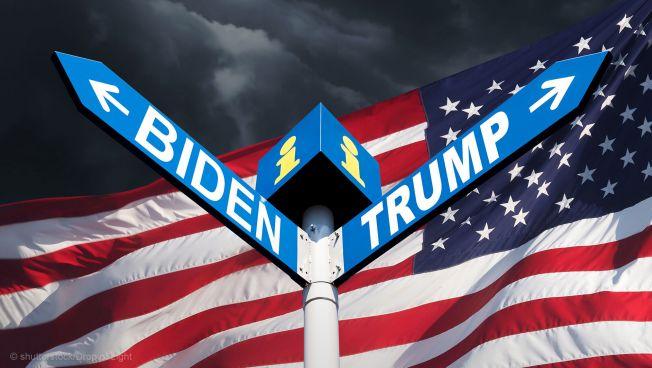 US-Flagge, Biden, Trump