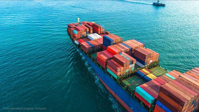 Container-Schiff, Meer