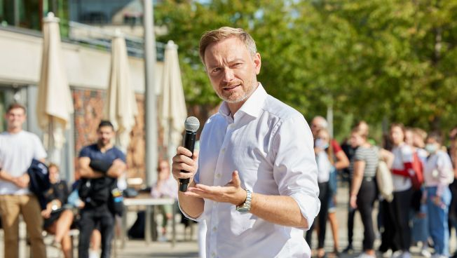 Christian Lindner beim Wahlkampfendspurt in Hamburg