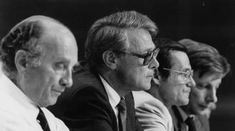 Otto Graf Lambsdorff, Bruno Menzel, Lothar Ramin, Rainer Ortleb (v.l.n.r.)